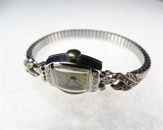 Vintage 14k White Gold Diamond Harvel Ladies Watch