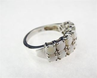 925 Sterling Silver and Opal Ring, Size 8