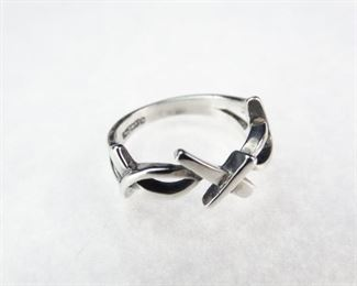 925 Sterling Silver Christian  Ichthus Cross Ring, Size 6