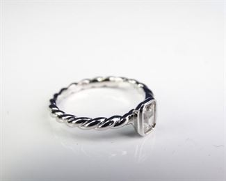 White Metal Ring with CZ