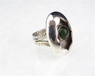 Sterling Silver  Nephrite Jade Gemstone Ring, Size 7