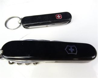 Pair of Black Swiss Army Style Camp Knives