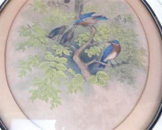 Antique Framed Bird Family Print