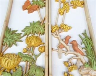 Decorative, Faux Bamboo Wall Plaque Set