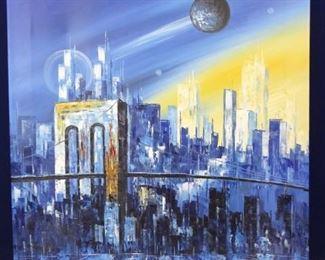 City Canvas Painting Original