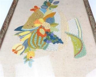 Intricate, Framed Yarn Fabric Still Life Art