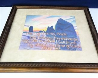 Large, Framed Matted Pastel Psalm Painting