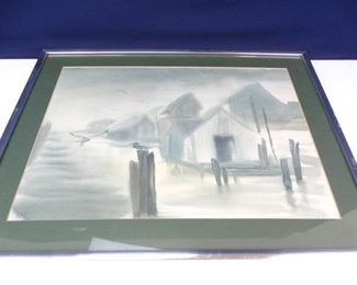 Watercolor Seascape Scene in Reflective Metal