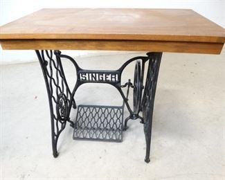 Antique Singer Iron Table Stand with Wood Topper