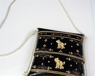 Vintage Woven Wood Rope Clutch Styled Purse