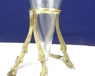 Elegent Glass Vase in Golden Metal Centerpiece Stand