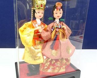 Oriental Styled Dolls in Decorative Display Box