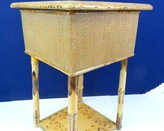 Vintage Bamboo End Table with Storage