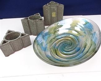 Triangular Art Pottery Trio Oval Glass Serving