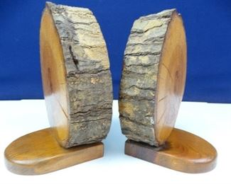 Thick, Rustic Wooden Log Book End Set