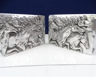 Wide, Metal, SilverColored Horse Book End Set