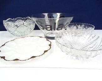 Elegant Glass Crystal Serving Bowls  Platters
