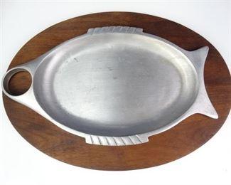 Gladmark Brand Wood Metal Fish Serving Dish