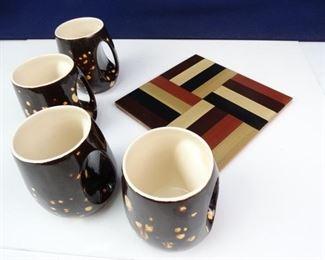 Mod Speckled Mugs Italian Tile Trivet