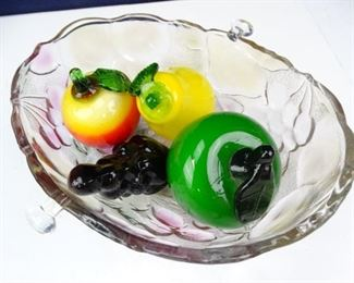Fruit Bowl with Blown Glass Fruit