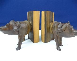 Solid Wood Water Buffalo Book End Set
