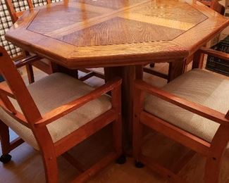Oak veneer kitchen table with four chairs