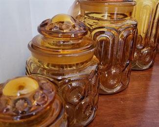 Amber depression-era glass canister set