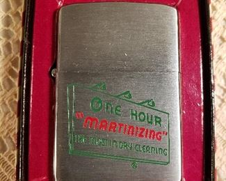 """1957 Zippo """"One Hour Martinizing"""" promo lighter, new in box"""
