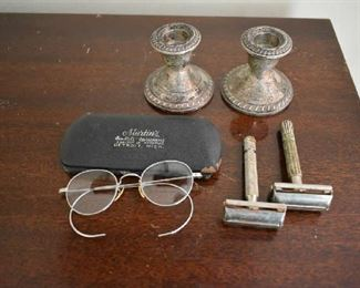 WEIGHTED STERLING CANDLE HOLDERS, RAZORS, EYEGLASSES