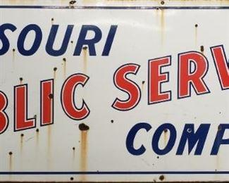 1940s Missouri Public Service Porcelain Sign From Clinton Missouri