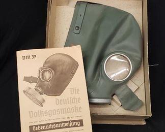 NOS German Gas Mask w/ Original Box has the Swastika on mask
