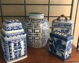 4 Blue and White Asian Inspired Vessels