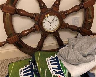 Ship's wheel clock.