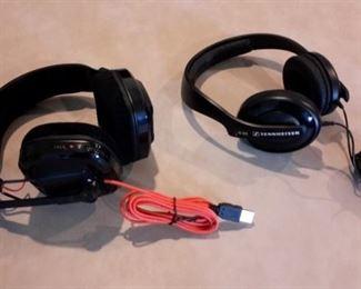 Plantronics Gamecom headset and Sennheiser headset.