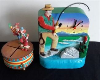 Vintage dancing clown music box that works great! Fisherman clock with moving fishing pole.