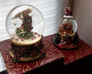 Beautiful San Francisco Music Box & Gift Co. musical globes, both working, with box.