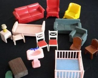 Vintage doll house furniture, sold as lot.