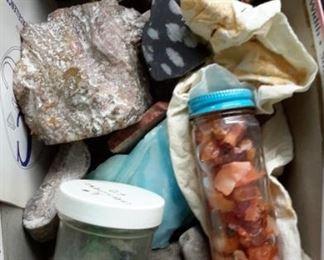 Box of various rocks.