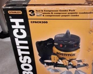 Stanley Bostich 3 tool and compressor combo pack, new in box.