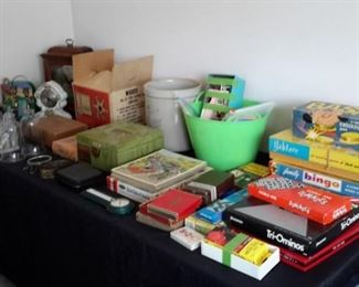 Vintage games, puzzles, projectors, dollhouse furniture and people, bookends, clocks, etc!