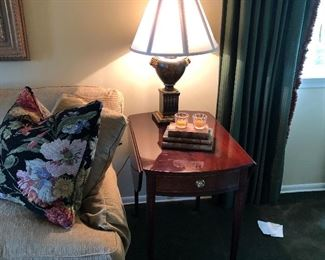 Baker side table and lamp and Sherrill Couch