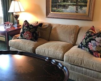Sherrill 3-cushion couch, acrylic framed original, Baker Side tables - 2, Stenciled hand-painted table lamps - 2, Oval coffee table - hand stenciled and down floral pillows