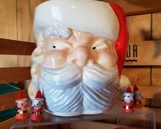 Vintage Santa head punch bowl