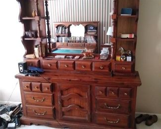 Wooden bureau with detachable mirror which is one of five piece bedroom set