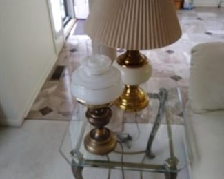 Glass top iron base and tables with lamps