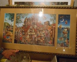 3-part Fairy tale scene by Christensen signed in the painting and also, a Pencil Signature