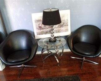 Mid Century Leather Swivel Chairs