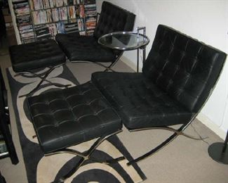 Barcelona Chairs with Ottomans, by Ludwig Mies van de Rohe (2)