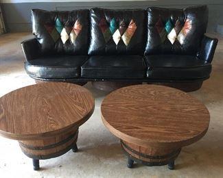 70's Bourbon Barrel Sofa & End Tables