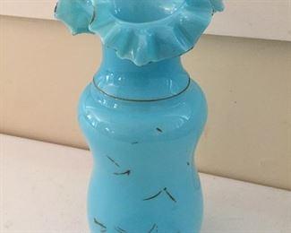 Blue Art Glass Ruffle Edge Vase